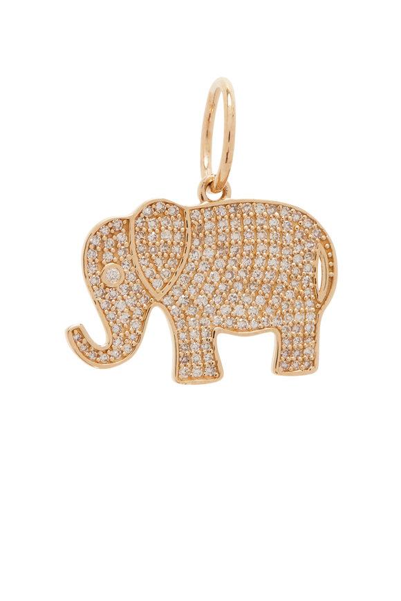 Kai Linz Yellow Gold Diamond Elephant Charm