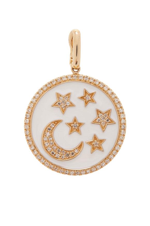 Kai Linz 14K Yellow Gold White Enamel Moon & Star Charm