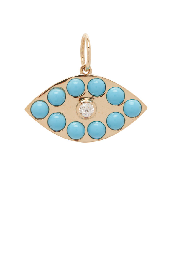 Kai Linz Yellow Gold Turquoise & Diamond Evil Eye Charm