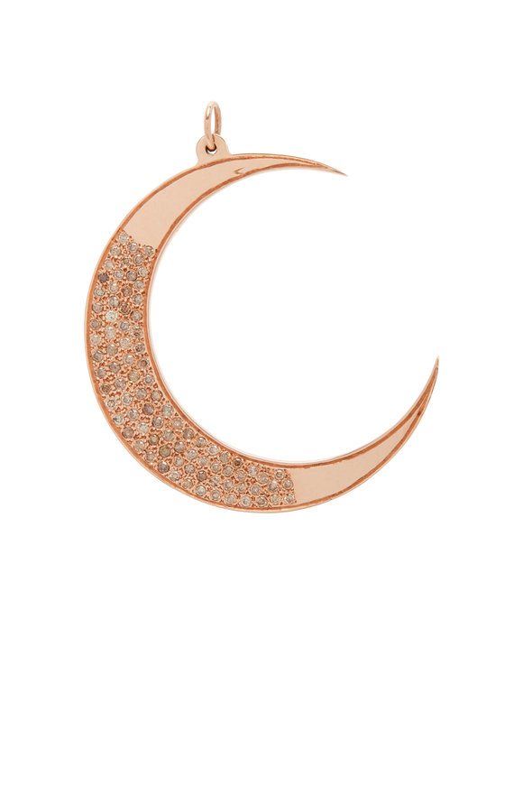 Genevieve Lau Rose Gold Champagne Diamond Crescent Moon Charm