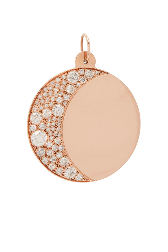 Genevieve Lau Rose Gold White Diamond Moon Charm