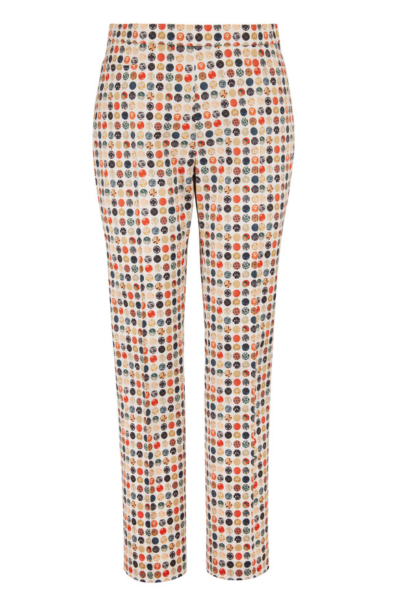 Akris Punto Franca Stretch Twill Multicolor Print Ankle Pant