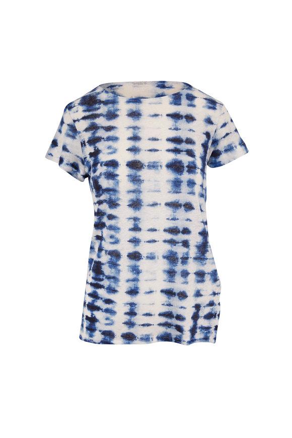 Majestic Blue & White Tie-Dye Bateau Neck T-Shirt