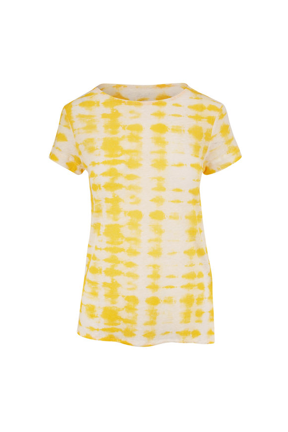 Majestic Yellow Linen Tie-Dye Short Sleeve Top