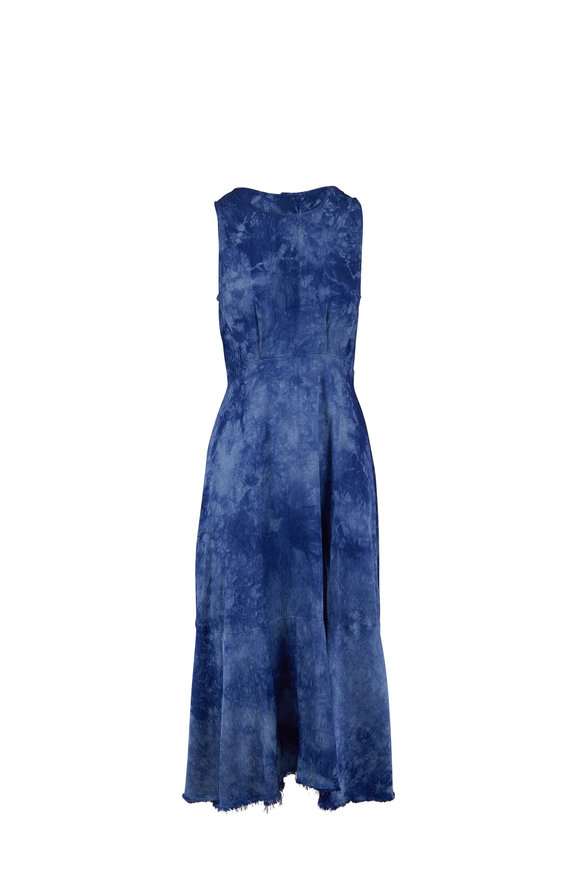 Raquel Allegra Frida Blue Tie-Dye Sleeveless Maxi Dress