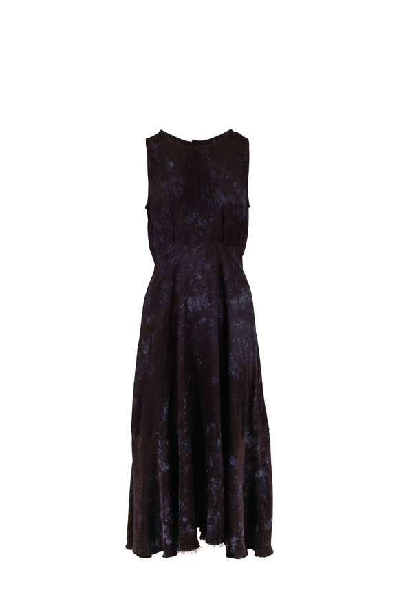Raquel Allegra Frida Black Tie-Dye Sleeveless Maxi Dress