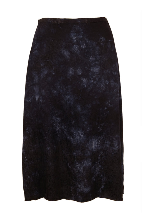 Raquel Allegra Black Satin Tie-Dye Bias Skirt