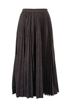 Michael Kors Collection - Banker Grey Flannel Glen Plaid Pleated Skirt