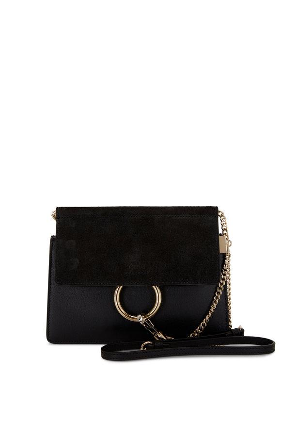 Chloé Faye Black Leather & Suede Flap Mini Crossbody