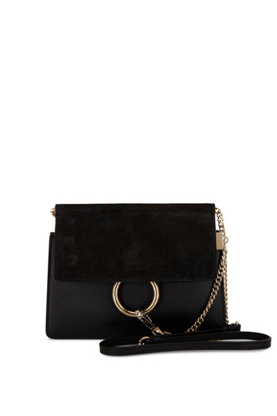 Chloé - Faye Black Leather & Suede Flap Mini Crossbody