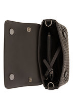 Brunello Cucinelli - Dark Gray Leather Monili Weave Small Bag