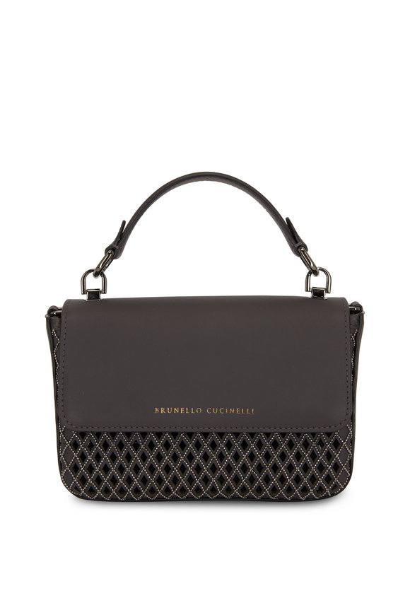 Brunello Cucinelli Dark Gray Leather Monili Weave Small Bag