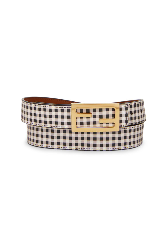 Fendi Black & White Check Reversible FF Buckle Belt