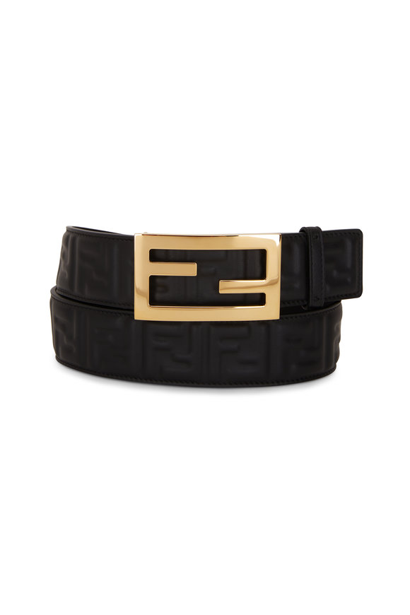 Fendi Black FF Embossed Logo Buckle Belt
