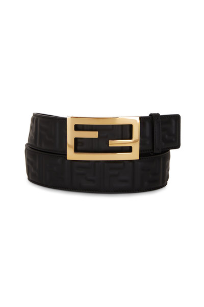 Fendi - Black FF Embossed Logo Buckle Belt