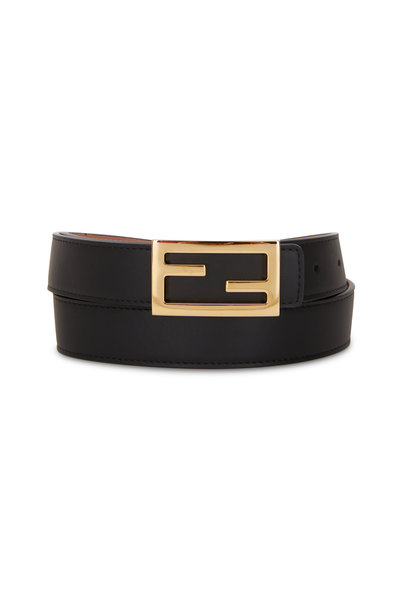 Fendi - Black & Rose Pink Reversible FF Buckle Belt