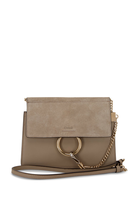 Chloé Faye Motty Gray Leather & Suede Mini Crossbody