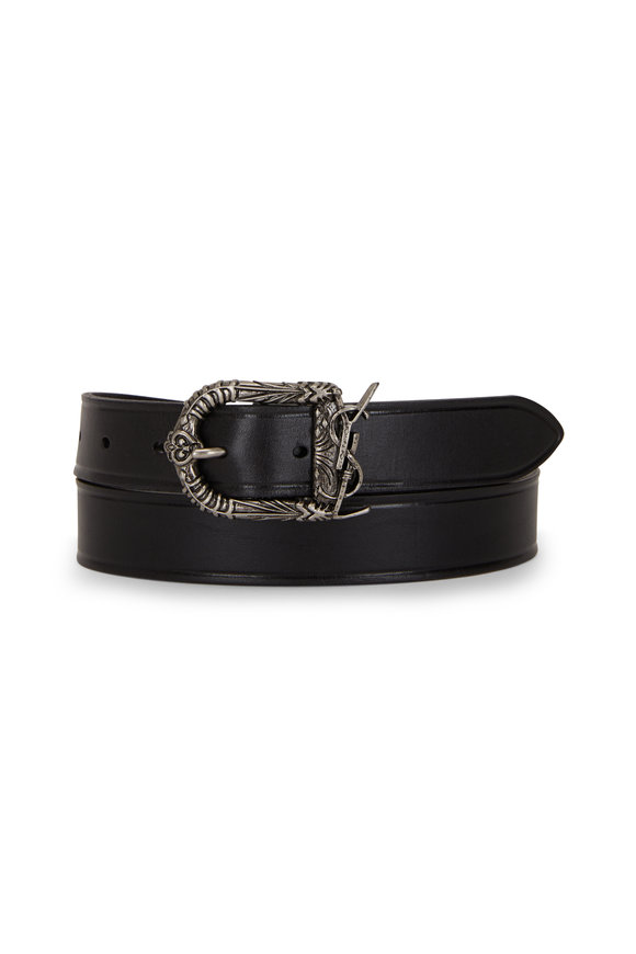 Saint Laurent Celtic Black Leather Belt