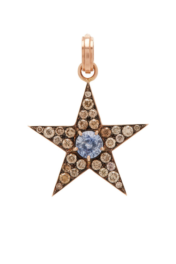 Sylva & Cie Yellow Gold Ceylon Sapphire & Diamond Star Charm