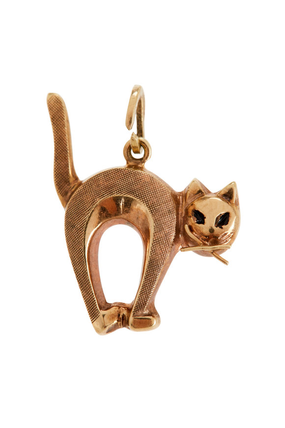 Fred Leighton 14K Yellow Gold Arching Cat Charm