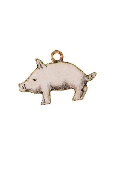 Fred Leighton - 14K Yellow Gold Enamel Pig Charm