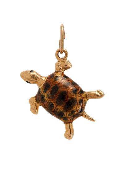 Fred Leighton - 14K Yellow Gold Enamel Turtle Charm