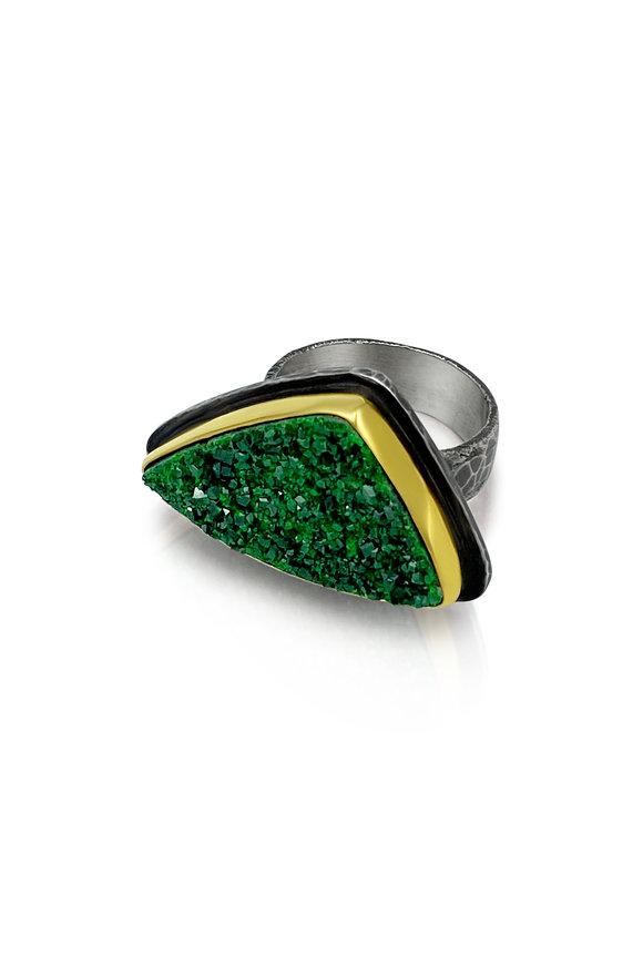 Tina Negri 18K Gold & Silver Green Uvarovite Garnet Ring