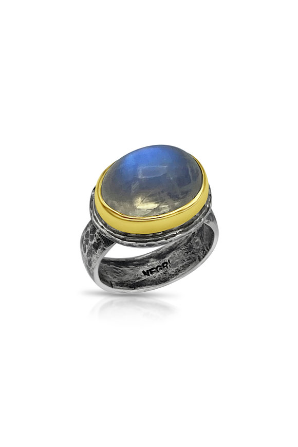 Tina Negri 18K Yellow Gold 7 Silver Oval Moonstone Ring