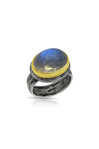 Tina Negri - 18K Yellow Gold 7 Silver Oval Moonstone Ring