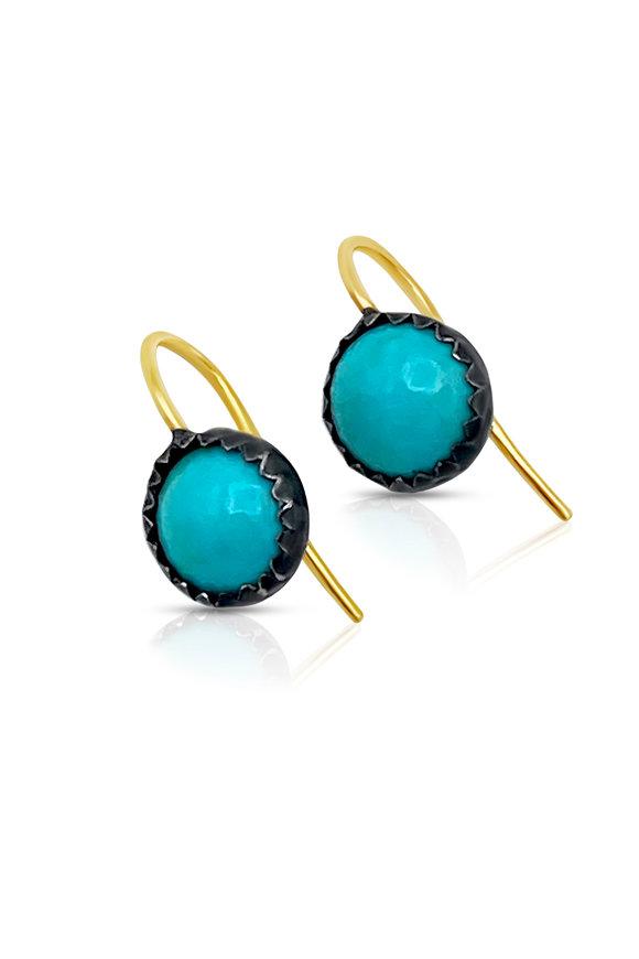 Tina Negri Yellow Gold Sleeping  Beauty Turquoise Earrings