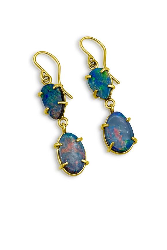 Tina Negri 18K Yellow Gold Double Boulder Opal Earrings