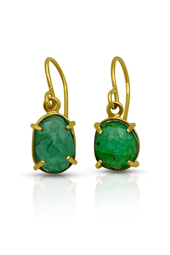 Tina Negri 18K Yellow Gold Emerald Earrings