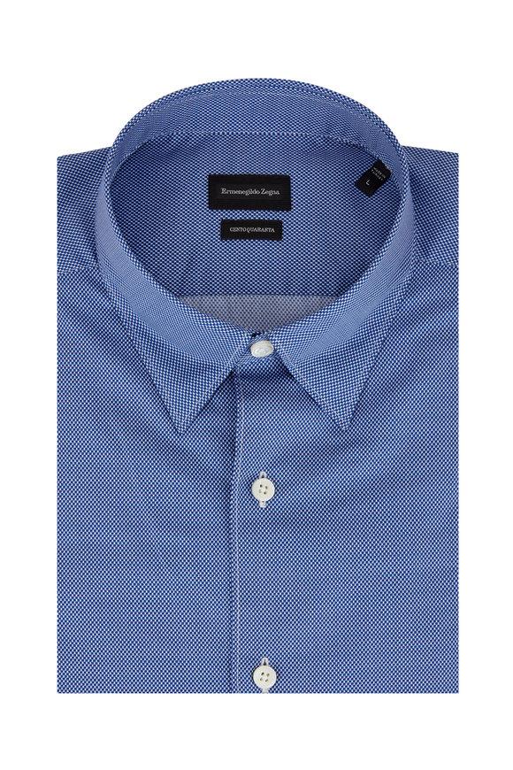 Ermenegildo Zegna Navy Blue Birdseye Sport Shirt