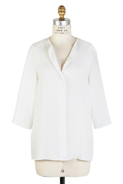 Peter Cohen - Ethnic White Silk Three-Quarter Sleeve Blouse
