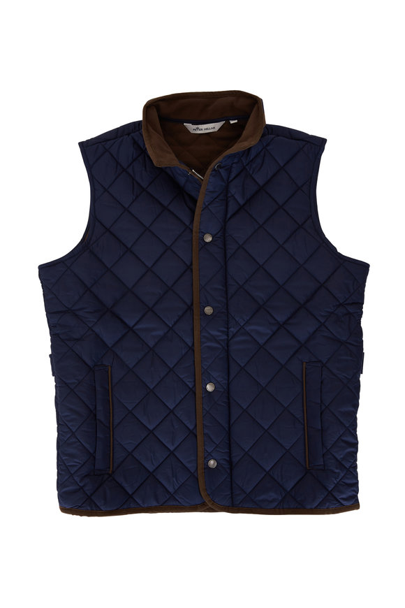 Peter Millar Essex Navy Blue Quilted Nylon Vest