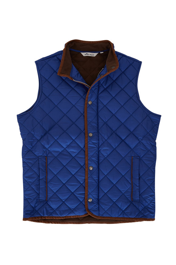 Peter Millar Essex Cobalt Blue Quilted Nylon Vest