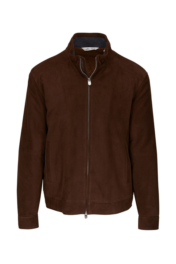 Peter Millar Chocolate Suede Bomber Jacket