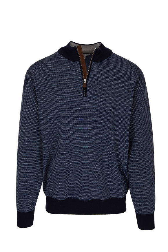 Peter Millar Navy Blue Birdseye Wool Quarter-Zip Pullover