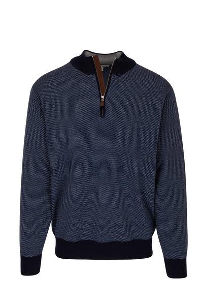 Peter Millar - Navy Blue Birdseye Wool Quarter-Zip Pullover