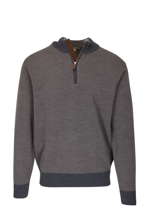 Peter Millar Charcoal & Brown Jacquard Quarter-Zip Pullover