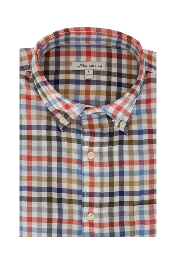 Peter Millar Devonport Pink Multicolor Large Check Sport Shirt