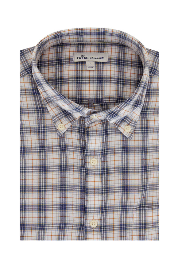Peter Millar Mountainside Blue Plaid Sport Shirt