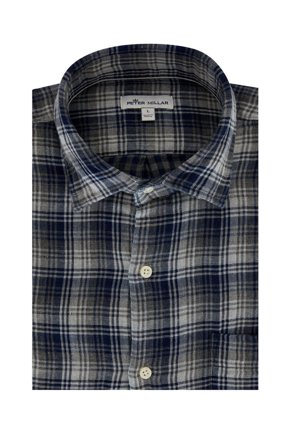 Peter Millar Hamilton Navy Blue Plaid Sport Shirt