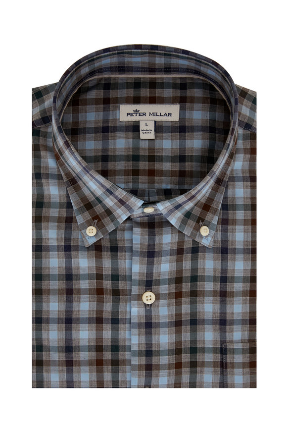 Peter Millar Phillip Gray Plaid Sport Shirt