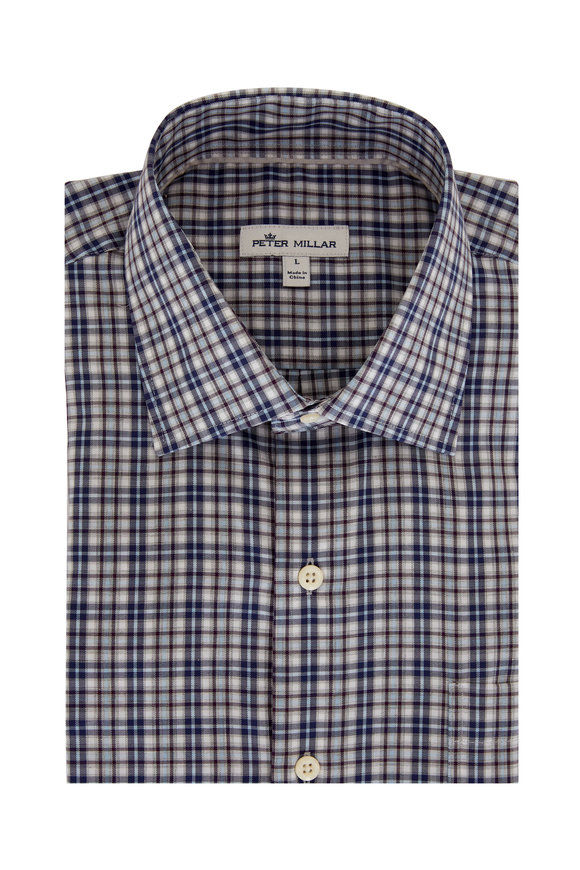 Peter Millar Tamerlane Navy Blue Plaid Sport Shirt