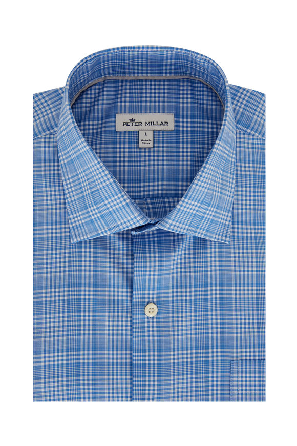 Peter Millar Andre Light Blue Plaid Performance Sport Shirt