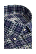 Peter Millar - Robertson Navy Blue Plaid Sport Shirt