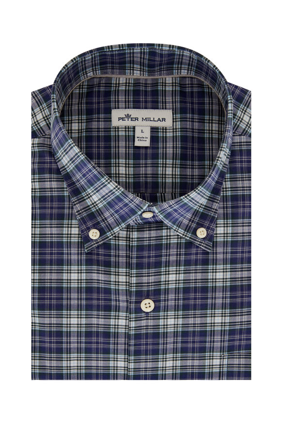 Peter Millar Robertson Navy Blue Plaid Sport Shirt