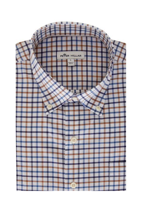 Peter Millar Louis Brown & Blue Check Sport Shirt