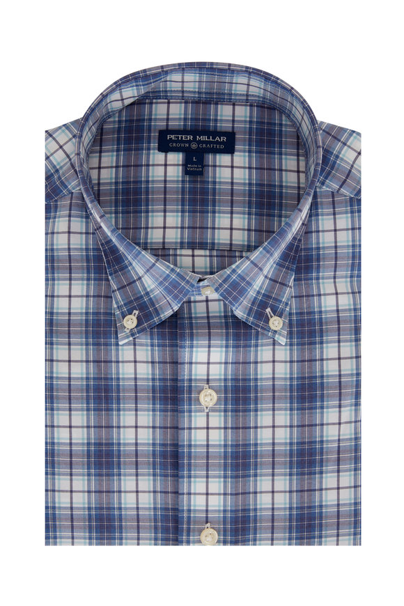 Peter Millar Oliver Blue Plaid Tailored Fit Sport Shirt